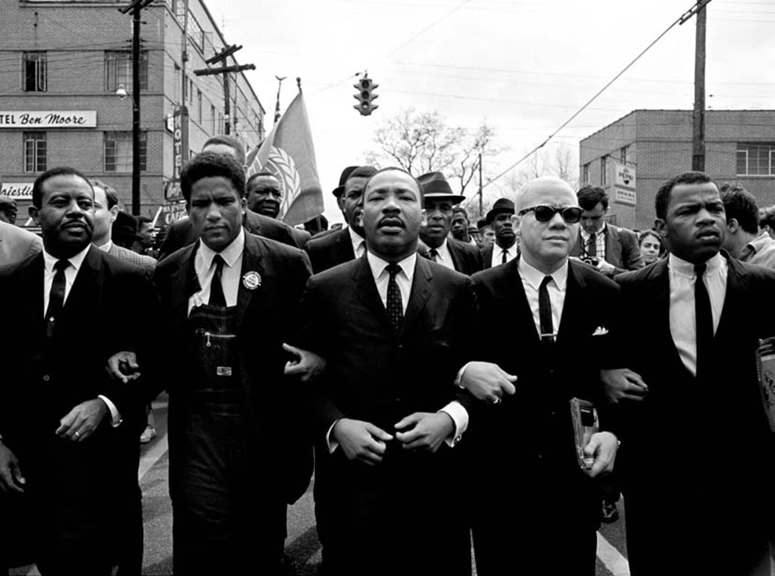 Dr. Martin Luther King, Jr. Marching for Voting Rights with John Lewis, Reverend Jesse Douglas, James Forman and Ralph Abernathy, Selma, 1965.