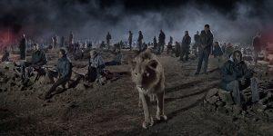Nick Bradnt, SAVANNAH-WITH-LION-&-HUMANS